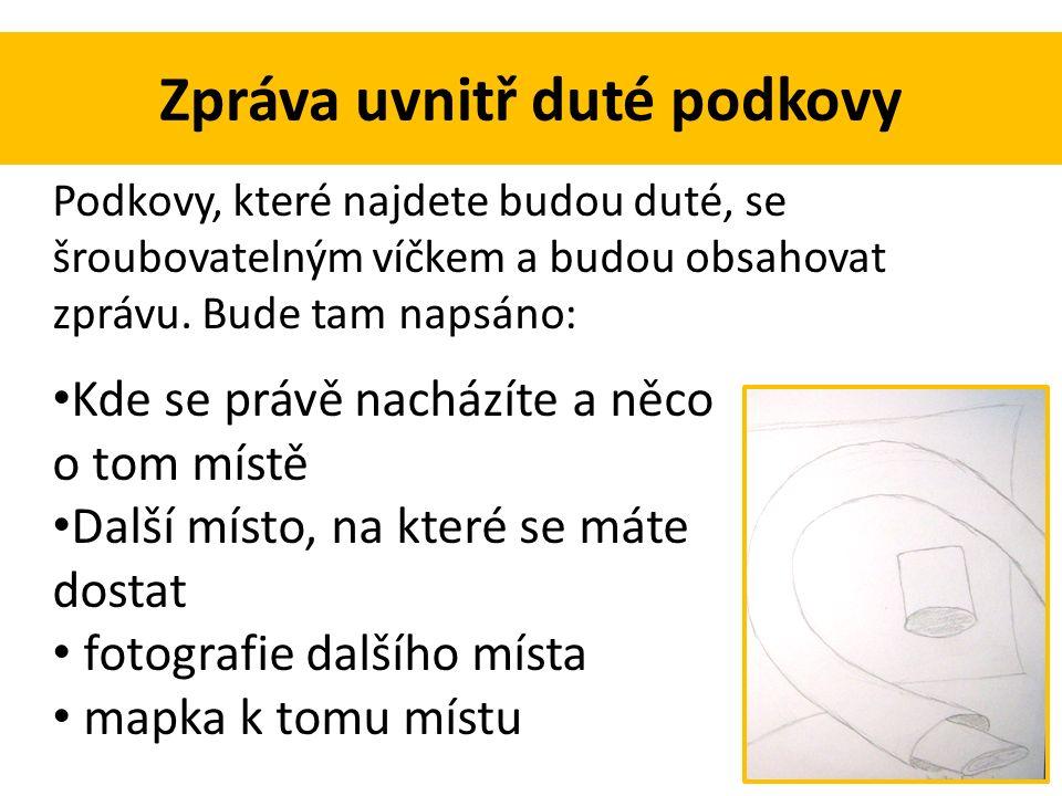 Zpráva uvnitř duté podkovy Podkovy, které najdete budou duté, se šroubovatelným víčkem a budou obsahovat zprávu.