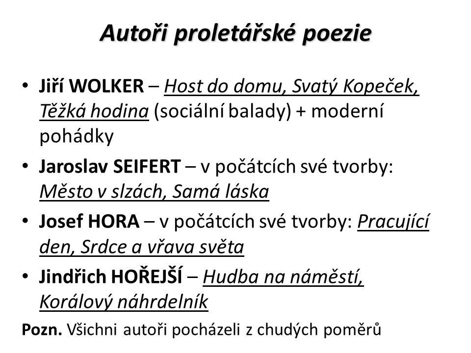 Autoři proletářské poezie Jiří WOLKER – Host do domu, Svatý Kopeček, Těžká hodina (sociální balady) + moderní pohádky Jaroslav SEIFERT – v počátcích s