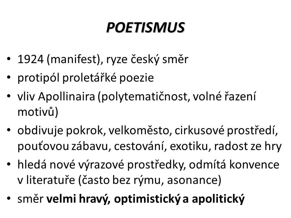 POETISMUS 1924 (manifest), ryze český směr protipól proletářké poezie vliv Apollinaira (polytematičnost, volné řazení motivů) obdivuje pokrok, velkoměsto, cirkusové prostředí, pouťovou zábavu, cestování, exotiku, radost ze hry hledá nové výrazové prostředky, odmítá konvence v literatuře (často bez rýmu, asonance) směr velmi hravý, optimistický a apolitický