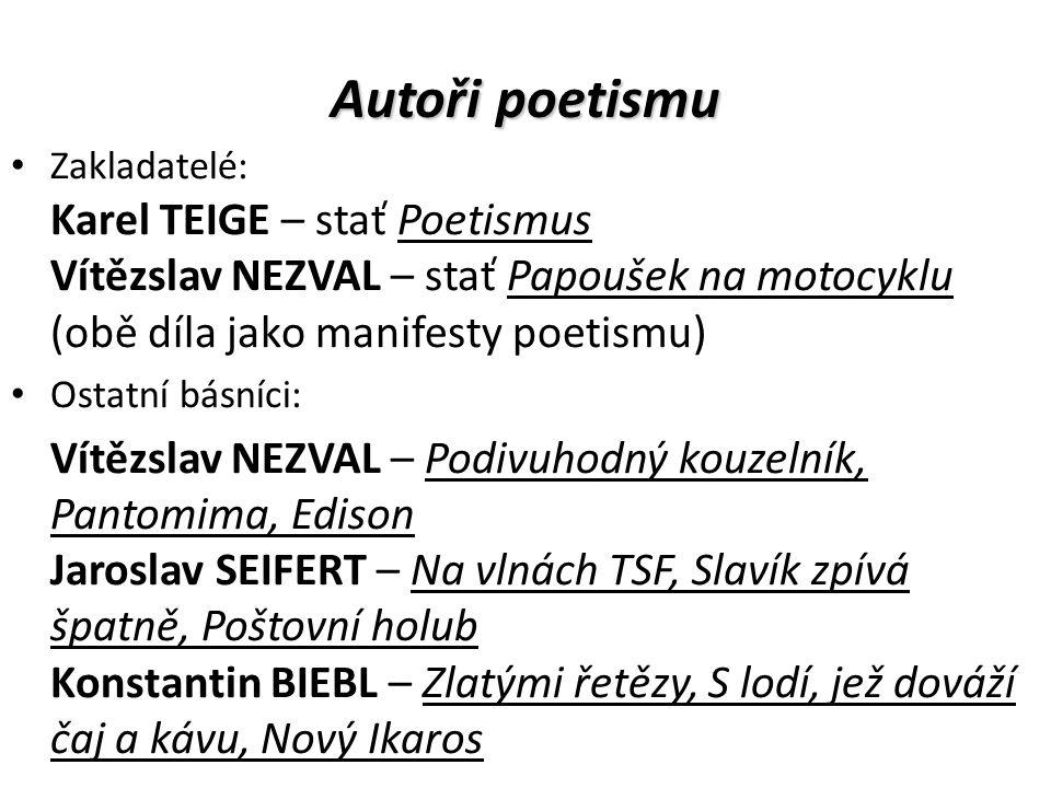 Autoři poetismu Zakladatelé: Karel TEIGE – stať Poetismus Vítězslav NEZVAL – stať Papoušek na motocyklu (obě díla jako manifesty poetismu) Ostatní bás
