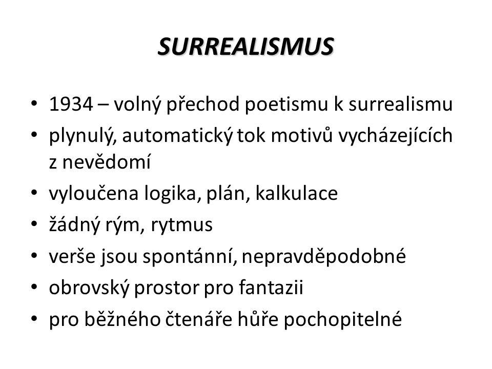 SURREALISMUS 1934 – volný přechod poetismu k surrealismu plynulý, automatický tok motivů vycházejících z nevědomí vyloučena logika, plán, kalkulace žádný rým, rytmus verše jsou spontánní, nepravděpodobné obrovský prostor pro fantazii pro běžného čtenáře hůře pochopitelné