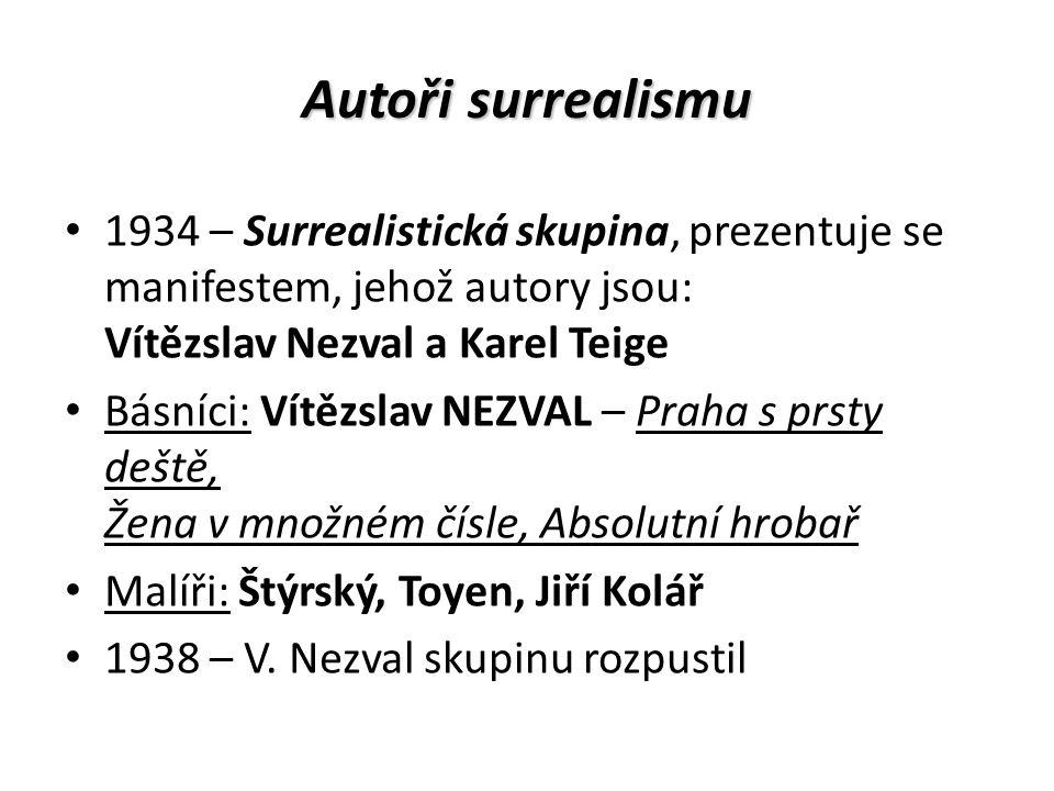 Autoři surrealismu 1934 – Surrealistická skupina, prezentuje se manifestem, jehož autory jsou: Vítězslav Nezval a Karel Teige Básníci: Vítězslav NEZVA