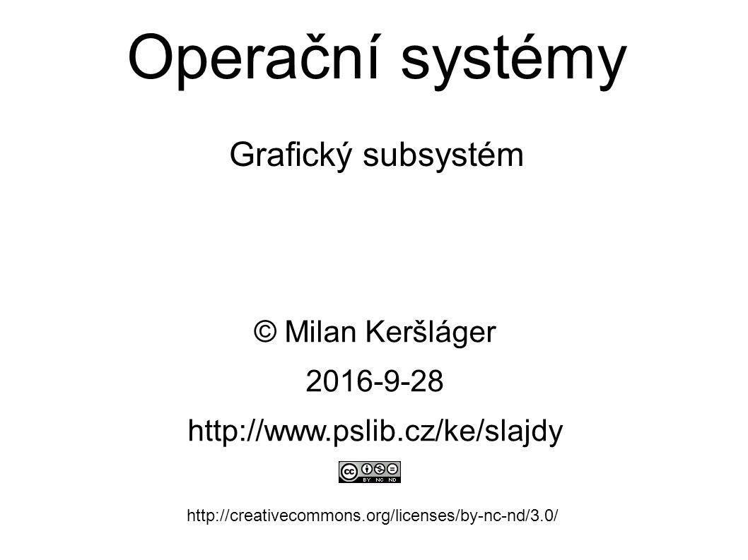 Operační systémy Grafický subsystém © Milan Keršláger 28.9.2016 http://www.pslib.cz/ke/slajdy http://creativecommons.org/licenses/by-nc-nd/3.0/ Obsah: