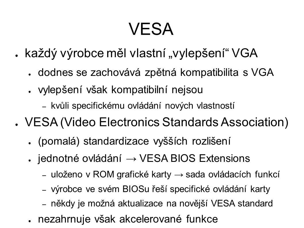 """VESA ● každý výrobce měl vlastní """"vylepšení VGA ● dodnes se zachovává zpětná kompatibilita s VGA ● vylepšení však kompatibilní nejsou – kvůli specifickému ovládání nových vlastností ● VESA (Video Electronics Standards Association) ● (pomalá) standardizace vyšších rozlišení ● jednotné ovládání → VESA BIOS Extensions – uloženo v ROM grafické karty → sada ovládacích funkcí – výrobce ve svém BIOSu řeší specifické ovládání karty – někdy je možná aktualizace na novější VESA standard ● nezahrnuje však akcelerované funkce"""