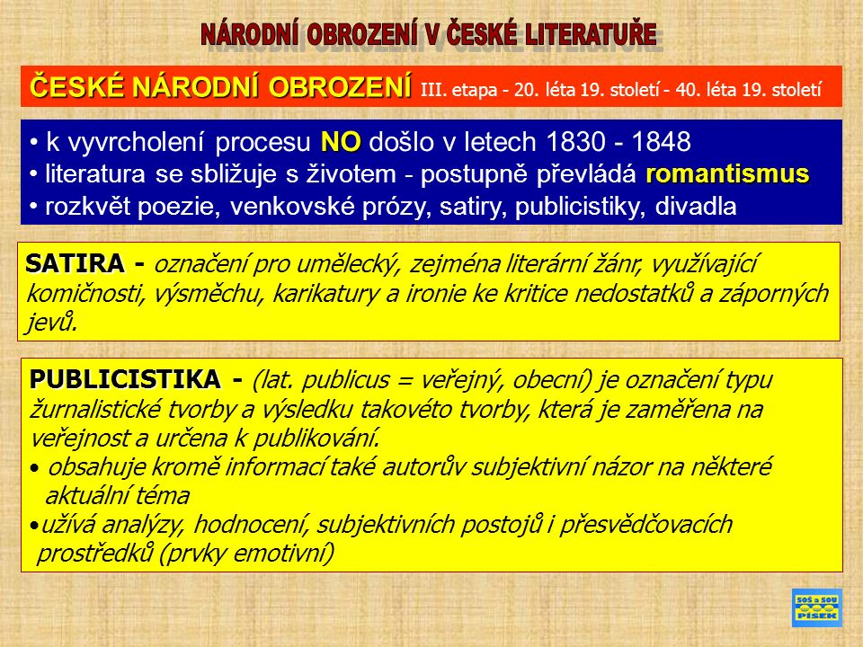 NO k vyvrcholení procesu NO došlo v letech 1830 - 1848 romantismus literatura se sbližuje s životem - postupně převládá romantismus rozkvět poezie, ve