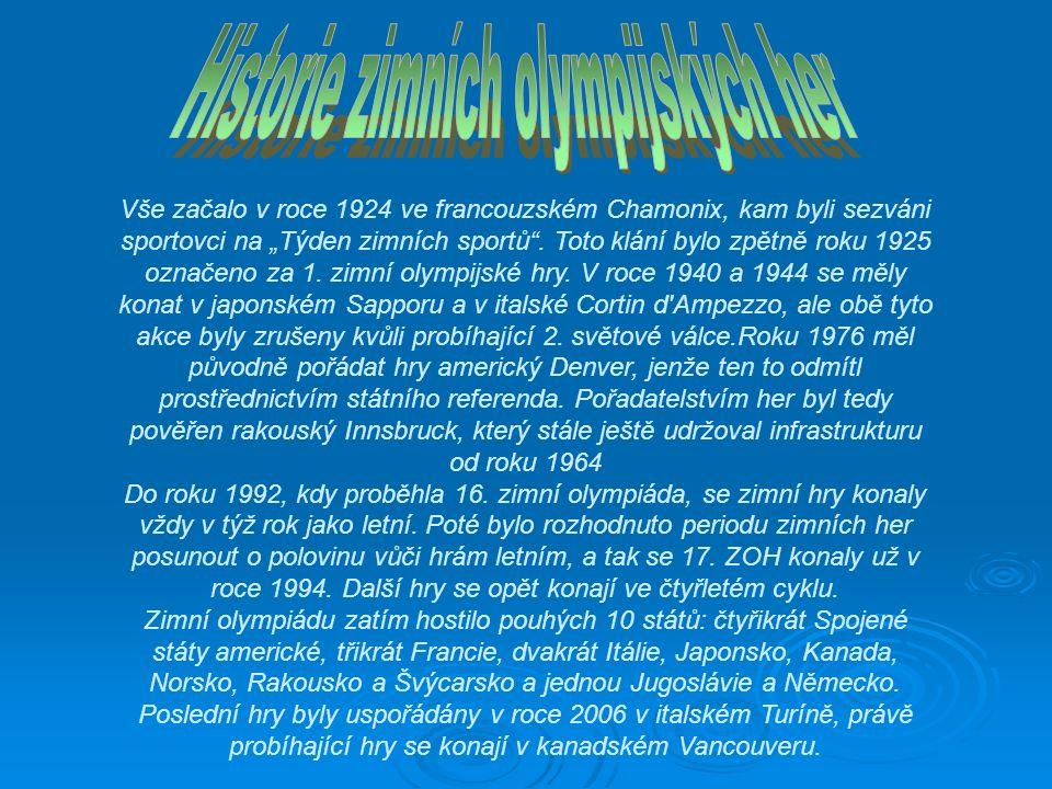 """Vše začalo v roce 1924 ve francouzském Chamonix, kam byli sezváni sportovci na """"Týden zimních sportů ."""