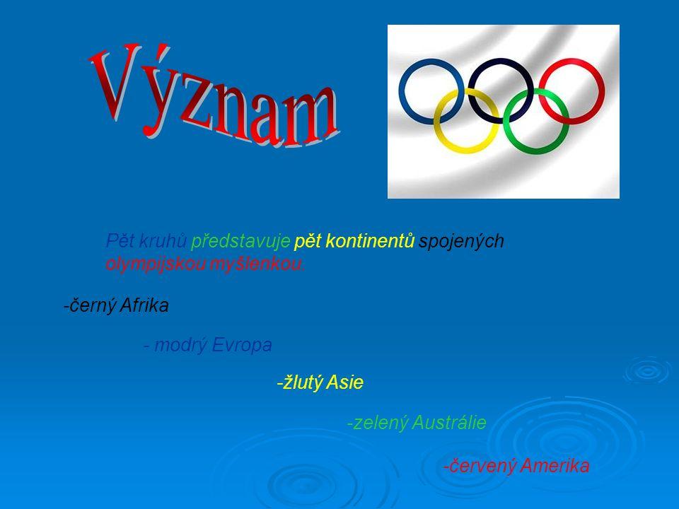 Pět kruhů představuje pět kontinentů spojených olympijskou myšlenkou.