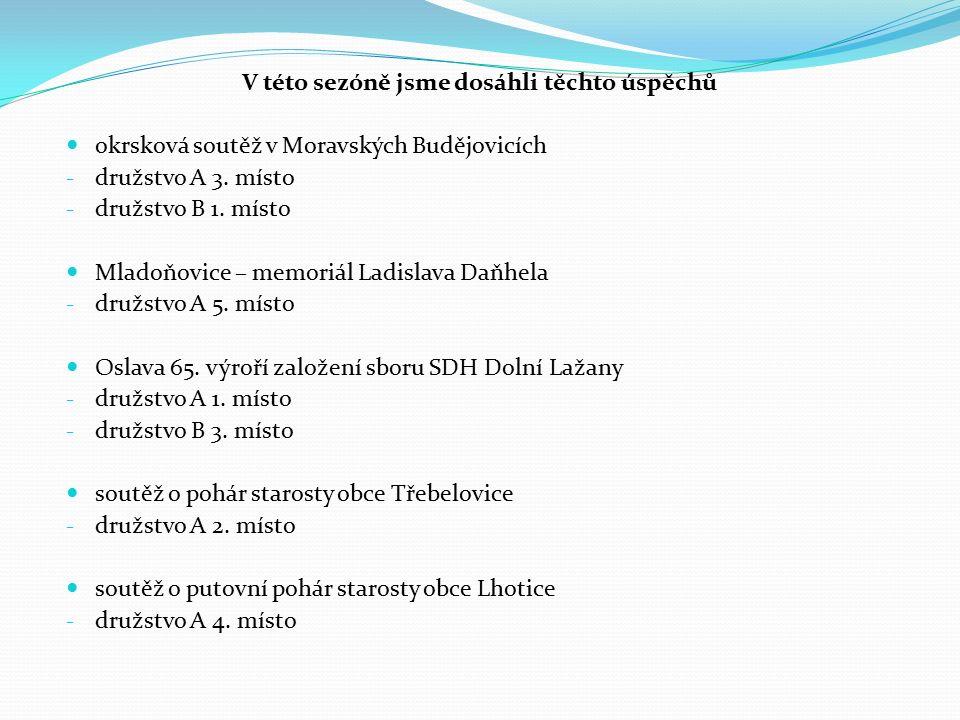 V této sezóně jsme dosáhli těchto úspěchů okrsková soutěž v Moravských Budějovicích - družstvo A 3.