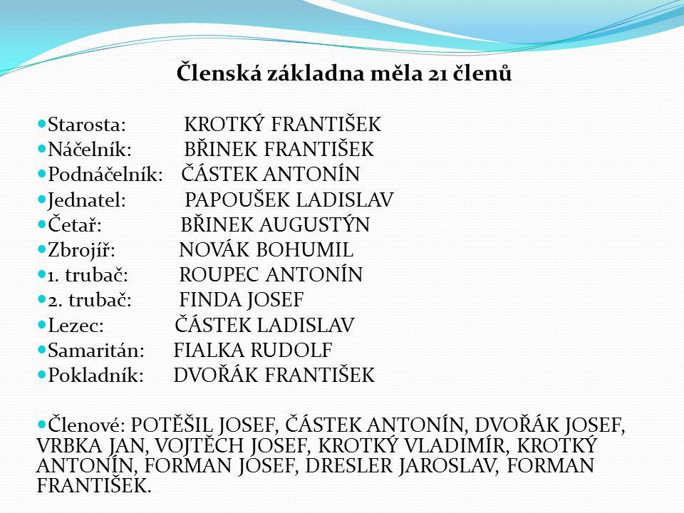 V současné době má náš sbor 59 členů (6 žen, 40 mužů a 13 dětí) Celkem máme 4 závodní družstva (2 družstva dětí, 1 družstvo mužů bez omezení věku a 1 družstvo mužů nad 35 let) Pravidelně se účastníme okrskové soutěže, nočních závodů ve Vraníně a Šebkovicích, různých pohárových soutěží a děti se účastní soutěží v rámci hry Plamen