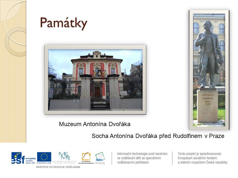 Památky Socha Antonína Dvořáka před Rudolfinem v Praze Muzeum Antonína Dvořáka