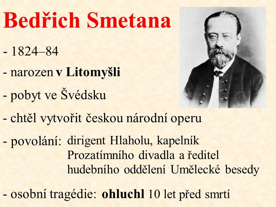 Bedřich Smetana - narozen - povolání: ohluchl 10 let před smrtí v Litomyšli dirigent Hlaholu, kapelník Prozatímního divadla a ředitel hudebního odděle