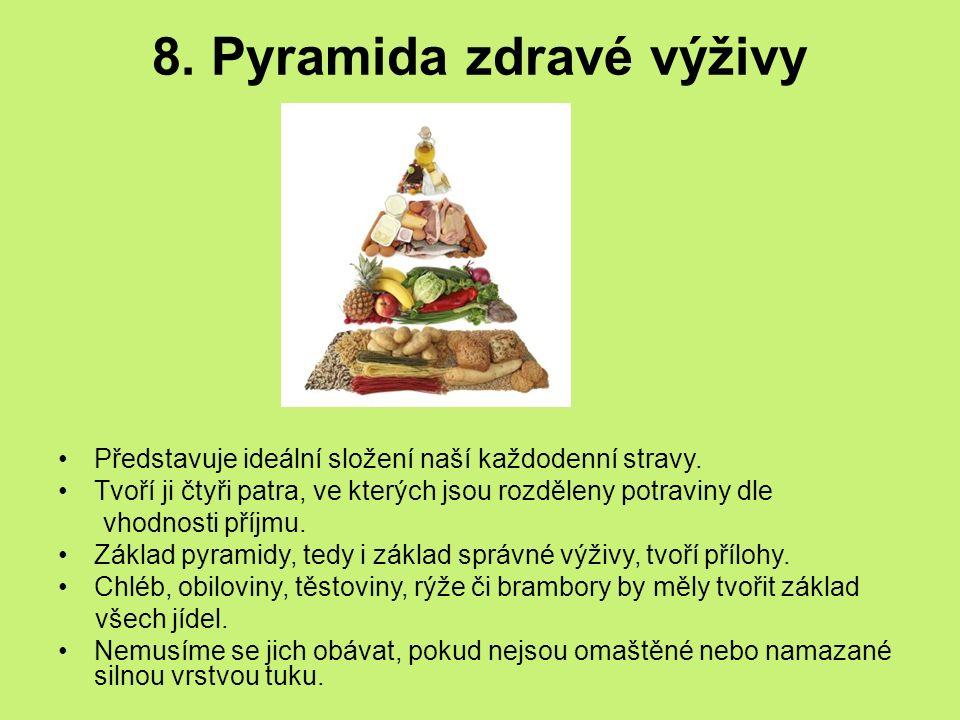 8. Pyramida zdravé výživy Představuje ideální složení naší každodenní stravy. Tvoří ji čtyři patra, ve kterých jsou rozděleny potraviny dle vhodnosti
