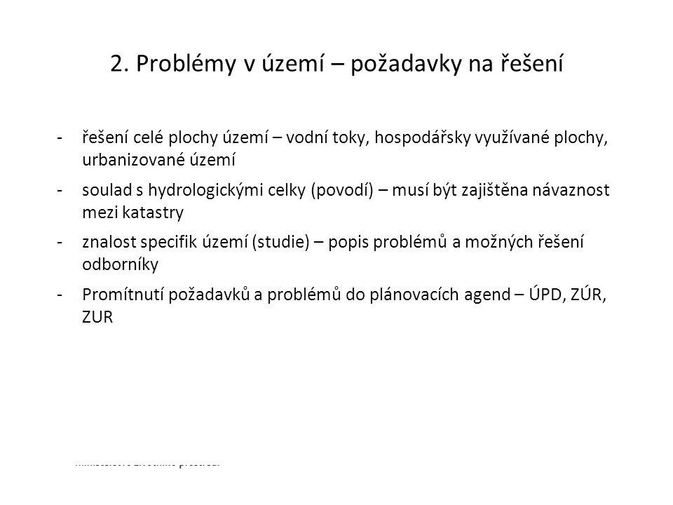 2. Problémy v území – požadavky na řešení -řešení celé plochy území – vodní toky, hospodářsky využívané plochy, urbanizované území -soulad s hydrologi
