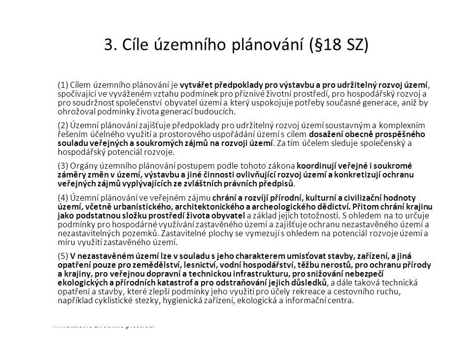 3. Cíle územního plánování (§18 SZ) (1) Cílem územního plánování je vytvářet předpoklady pro výstavbu a pro udržitelný rozvoj území, spočívající ve vy