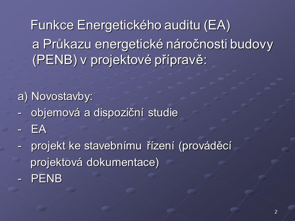 2 Funkce Energetického auditu (EA) Funkce Energetického auditu (EA) a Průkazu energetické náročnosti budovy (PENB) v projektové přípravě: a) Novostavby: - objemová a dispoziční studie - EA - projekt ke stavebnímu řízení (prováděcí projektová dokumentace) projektová dokumentace) - PENB