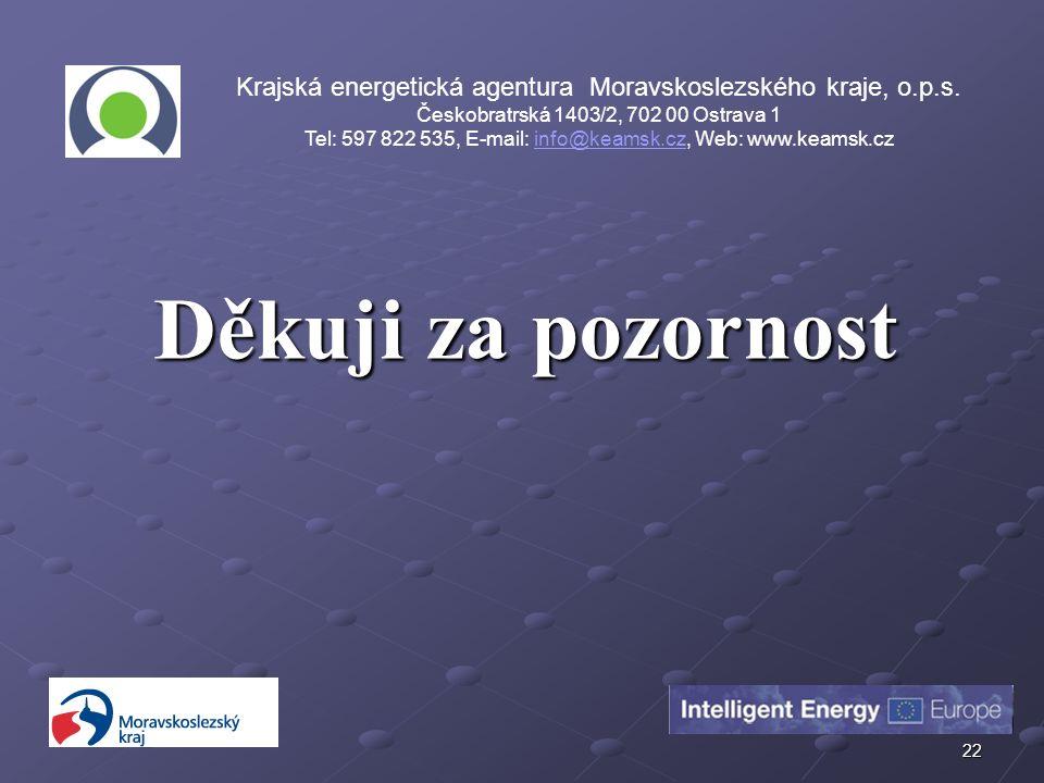 22 Děkuji za pozornost Krajská energetická agentura Moravskoslezského kraje, o.p.s.