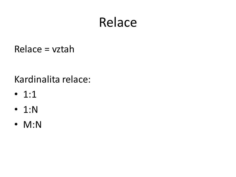 Relace Relace = vztah Kardinalita relace: 1:1 1:N M:N
