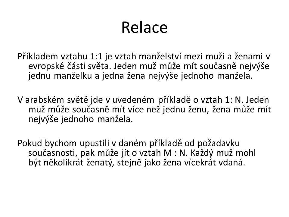 Relace Příkladem vztahu 1:1 je vztah manželství mezi muži a ženami v evropské části světa. Jeden muž může mít současně nejvýše jednu manželku a jedna