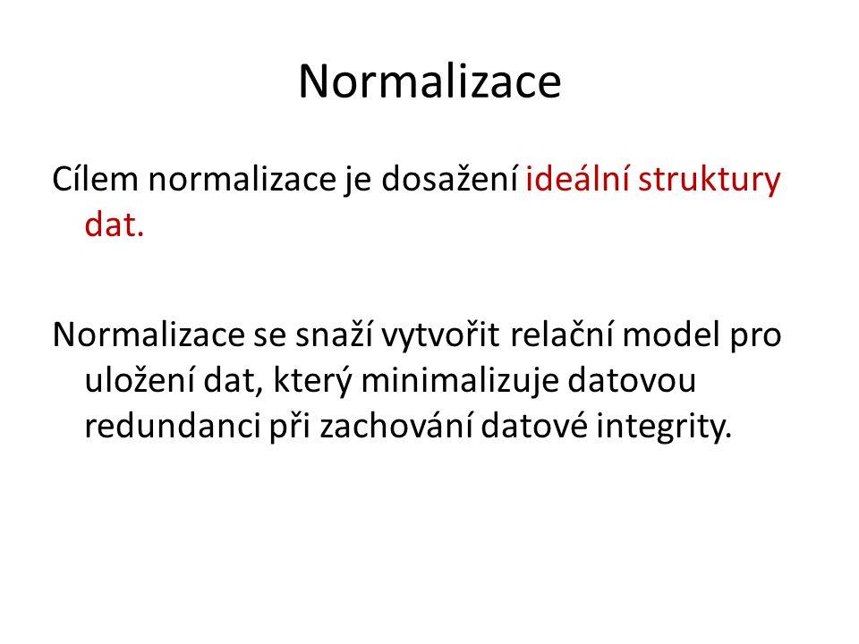 Normalizace Cílem normalizace je dosažení ideální struktury dat.