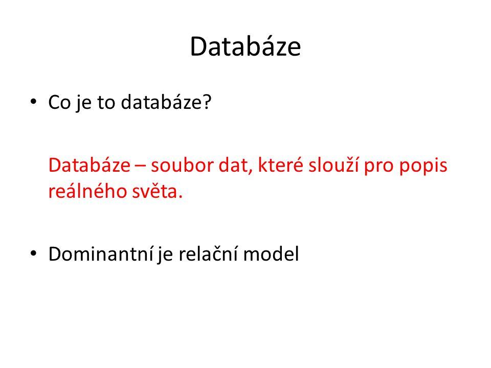 Databáze Co je to databáze? Databáze – soubor dat, které slouží pro popis reálného světa. Dominantní je relační model