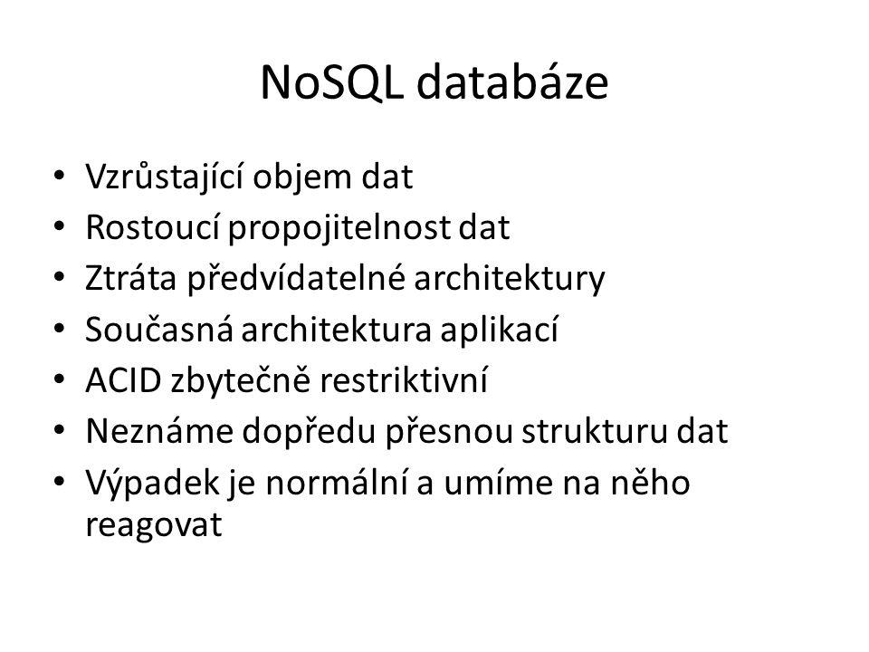 NoSQL databáze Vzrůstající objem dat Rostoucí propojitelnost dat Ztráta předvídatelné architektury Současná architektura aplikací ACID zbytečně restriktivní Neznáme dopředu přesnou strukturu dat Výpadek je normální a umíme na něho reagovat