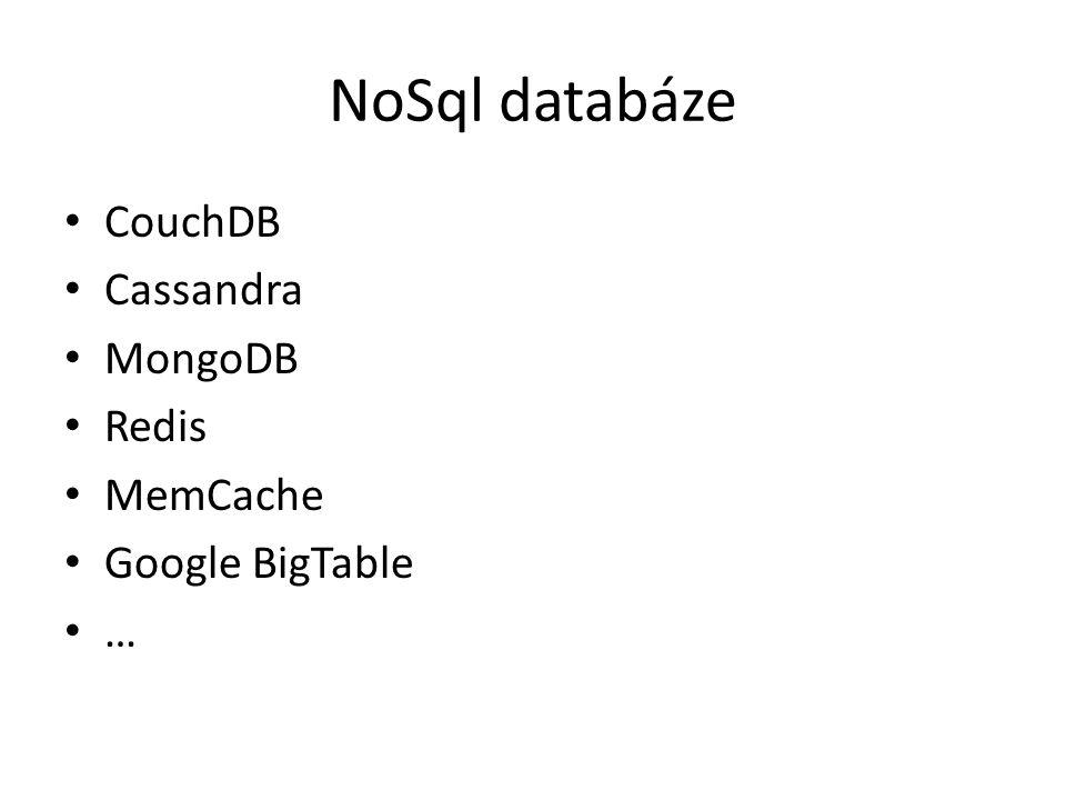 NoSql databáze CouchDB Cassandra MongoDB Redis MemCache Google BigTable …