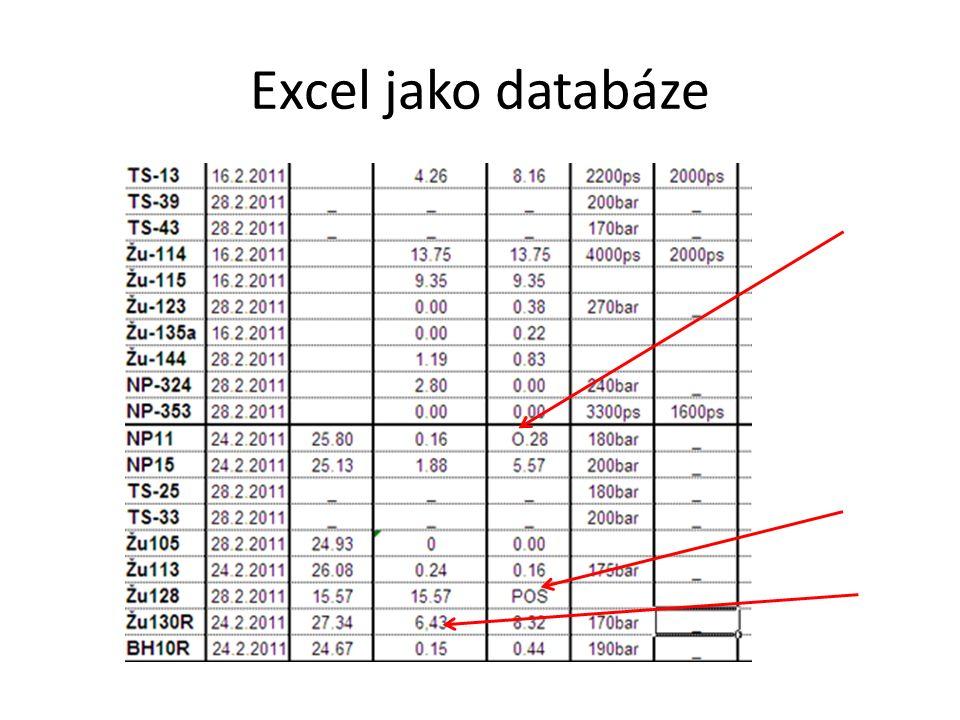Excel jako databáze