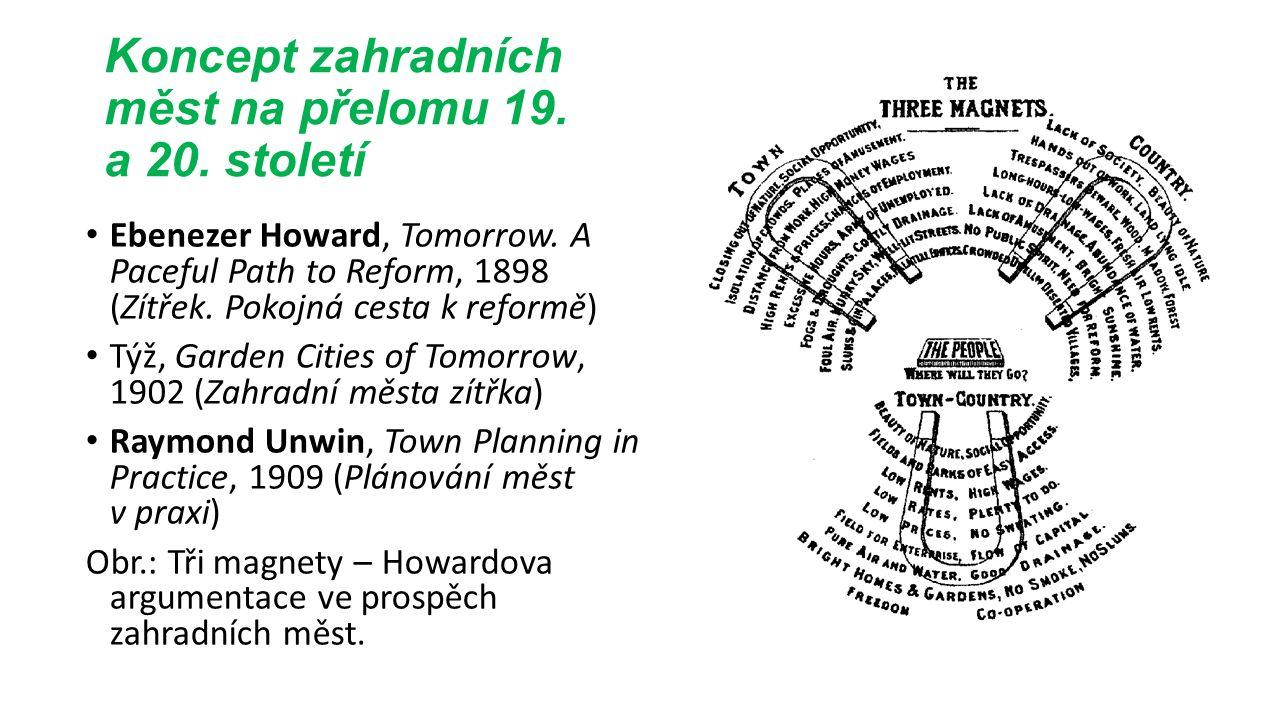 Koncept zahradních měst na přelomu 19. a 20. století Ebenezer Howard, Tomorrow.