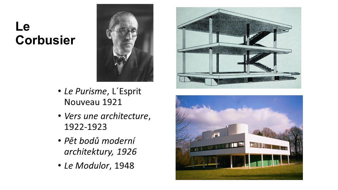 Le Corbusier Le Purisme, L´Esprit Nouveau 1921 Vers une architecture, 1922-1923 Pět bodů moderní architektury, 1926 Le Modulor, 1948