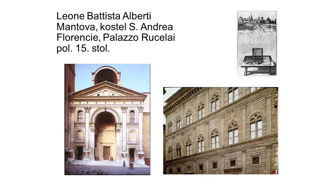 Leone Battista Alberti Mantova, kostel S. Andrea Florencie, Palazzo Rucelai pol. 15. stol.