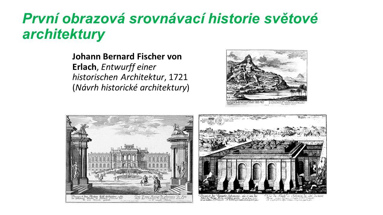 První obrazová srovnávací historie světové architektury Johann Bernard Fischer von Erlach, Entwurff einer historischen Architektur, 1721 (Návrh historické architektury)