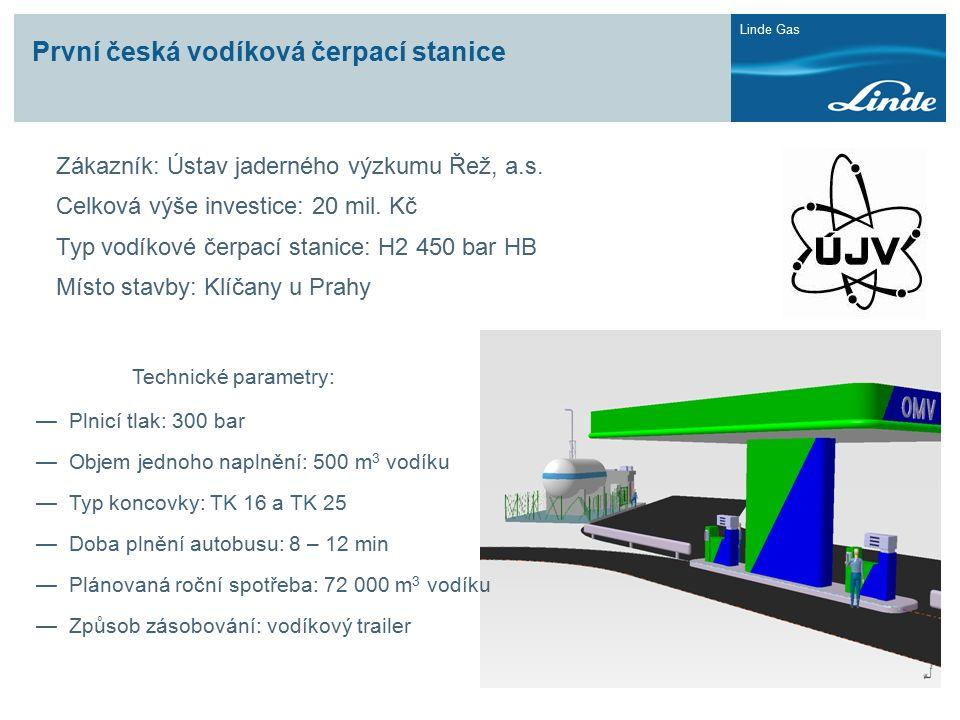Linde Gas První česká vodíková čerpací stanice Zákazník: Ústav jaderného výzkumu Řež, a.s. Celková výše investice: 20 mil. Kč Typ vodíkové čerpací sta