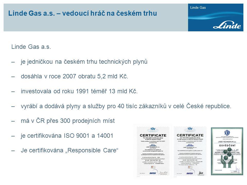 Linde Gas Linde Gas a.s. – vedoucí hráč na českém trhu Linde Gas a.s. –je jedničkou na českém trhu technických plynů –dosáhla v roce 2007 obratu 5,2 m