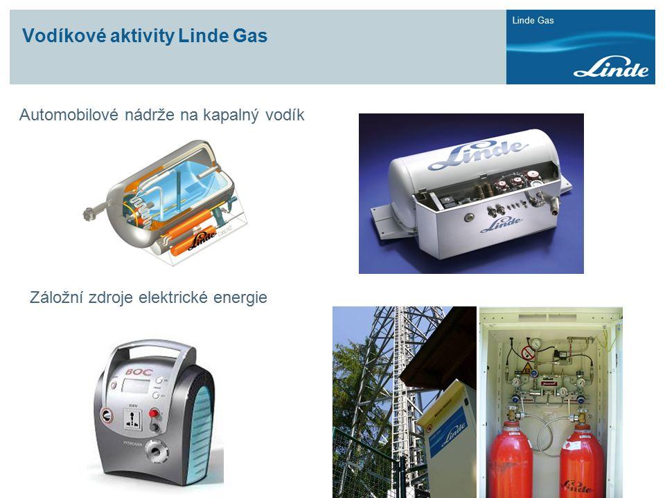 Linde Gas Vodíkové aktivity Linde Gas Automobilové nádrže na kapalný vodík Záložní zdroje elektrické energie
