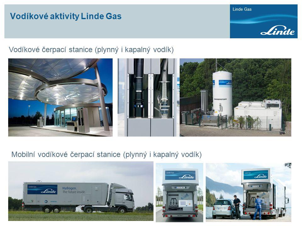 Linde Gas Vodíkové aktivity Linde Gas Vodíkové čerpací stanice (plynný i kapalný vodík) Mobilní vodíkové čerpací stanice (plynný i kapalný vodík)