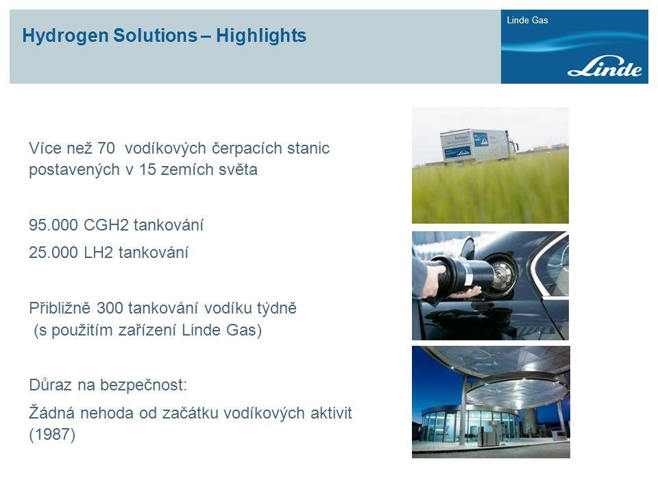 Linde Gas Více než 70 vodíkových čerpacích stanic postavených v 15 zemích světa 95.000 CGH2 tankování 25.000 LH2 tankování Přibližně 300 tankování vodíku týdně (s použitím zařízení Linde Gas) Důraz na bezpečnost: Žádná nehoda od začátku vodíkových aktivit (1987) Hydrogen Solutions – Highlights