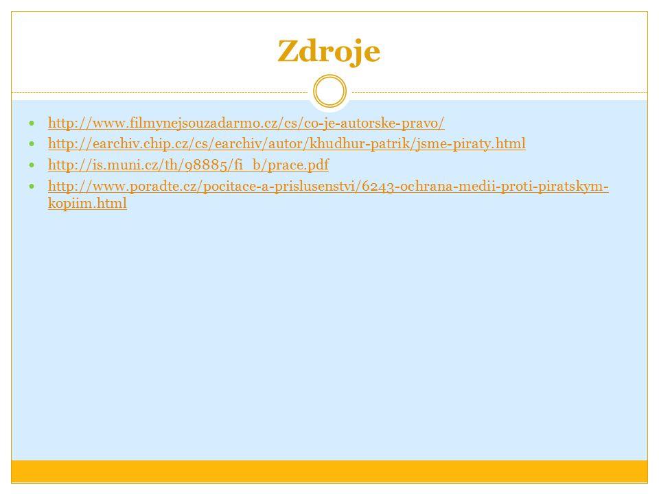 Zdroje http://www.filmynejsouzadarmo.cz/cs/co-je-autorske-pravo/ http://earchiv.chip.cz/cs/earchiv/autor/khudhur-patrik/jsme-piraty.html http://is.muni.cz/th/98885/fi_b/prace.pdf http://www.poradte.cz/pocitace-a-prislusenstvi/6243-ochrana-medii-proti-piratskym- kopiim.html http://www.poradte.cz/pocitace-a-prislusenstvi/6243-ochrana-medii-proti-piratskym- kopiim.html