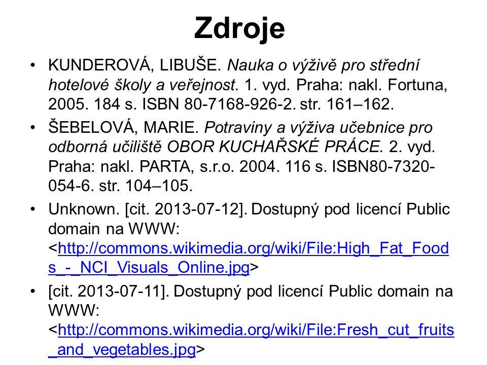 KUNDEROVÁ, LIBUŠE. Nauka o výživě pro střední hotelové školy a veřejnost.