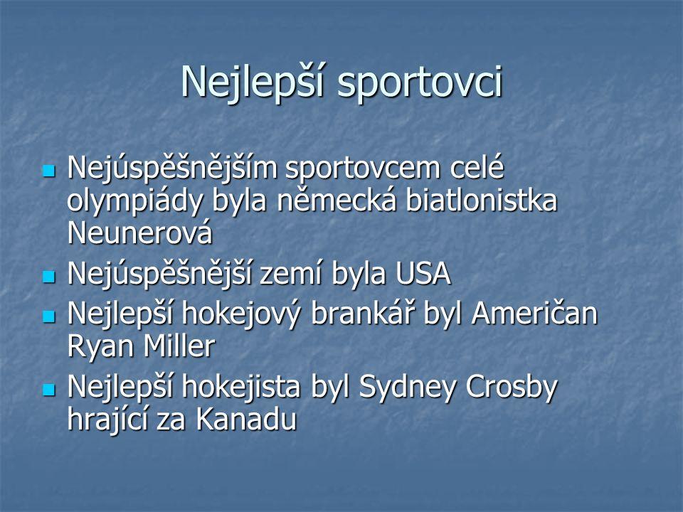 Nejlepší sportovci Nejúspěšnějším sportovcem celé olympiády byla německá biatlonistka Neunerová Nejúspěšnějším sportovcem celé olympiády byla německá biatlonistka Neunerová Nejúspěšnější zemí byla USA Nejúspěšnější zemí byla USA Nejlepší hokejový brankář byl Američan Ryan Miller Nejlepší hokejový brankář byl Američan Ryan Miller Nejlepší hokejista byl Sydney Crosby hrající za Kanadu Nejlepší hokejista byl Sydney Crosby hrající za Kanadu