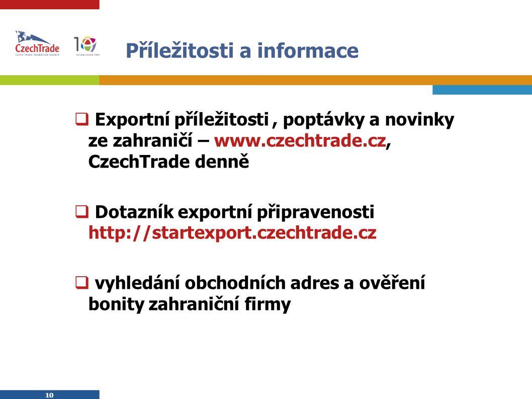 10 Příležitosti a informace  Exportní příležitosti, poptávky a novinky ze zahraničí – www.czechtrade.cz, CzechTrade denně  Dotazník exportní připrav