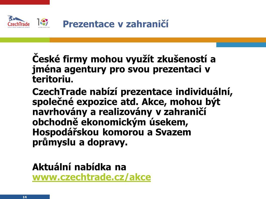 14 Prezentace v zahraničí České firmy mohou využít zkušeností a jména agentury pro svou prezentaci v teritoriu. CzechTrade nabízí prezentace individuá