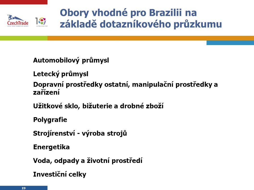 19 Obory vhodné pro Brazilii na základě dotazníkového průzkumu Automobilový průmysl Letecký průmysl Dopravní prostředky ostatní, manipulační prostředk