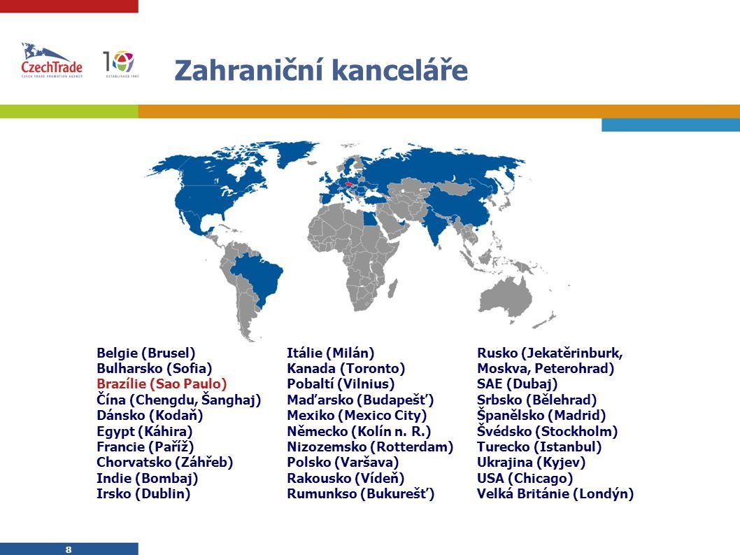 8 8 Zahraniční kanceláře Belgie (Brusel) Bulharsko (Sofia) Brazílie (Sao Paulo) Čína (Chengdu, Šanghaj) Dánsko (Kodaň) Egypt (Káhira) Francie (Paříž) Chorvatsko (Záhřeb) Indie (Bombaj) Irsko (Dublin) Itálie (Milán) Kanada (Toronto) Pobaltí (Vilnius) Maďarsko (Budapešť) Mexiko (Mexico City) Německo (Kolín n.