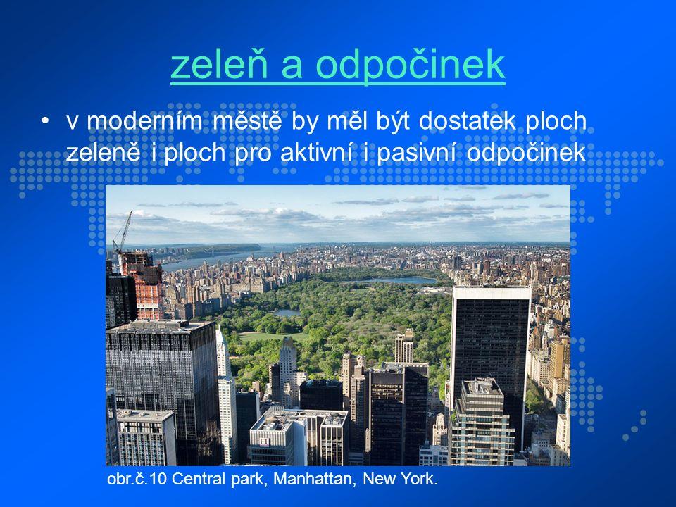 zeleň a odpočinek v moderním městě by měl být dostatek ploch zeleně i ploch pro aktivní i pasivní odpočinek obr.č.10 Central park, Manhattan, New York.
