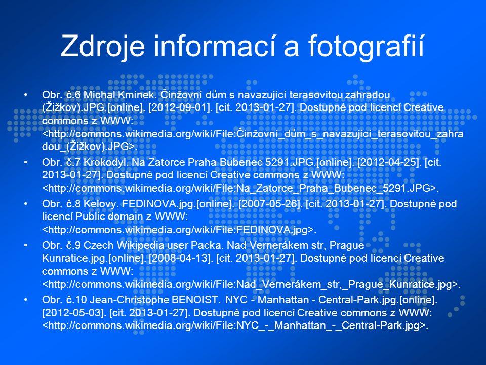 Zdroje informací a fotografií Obr. č.6 Michal Kmínek.