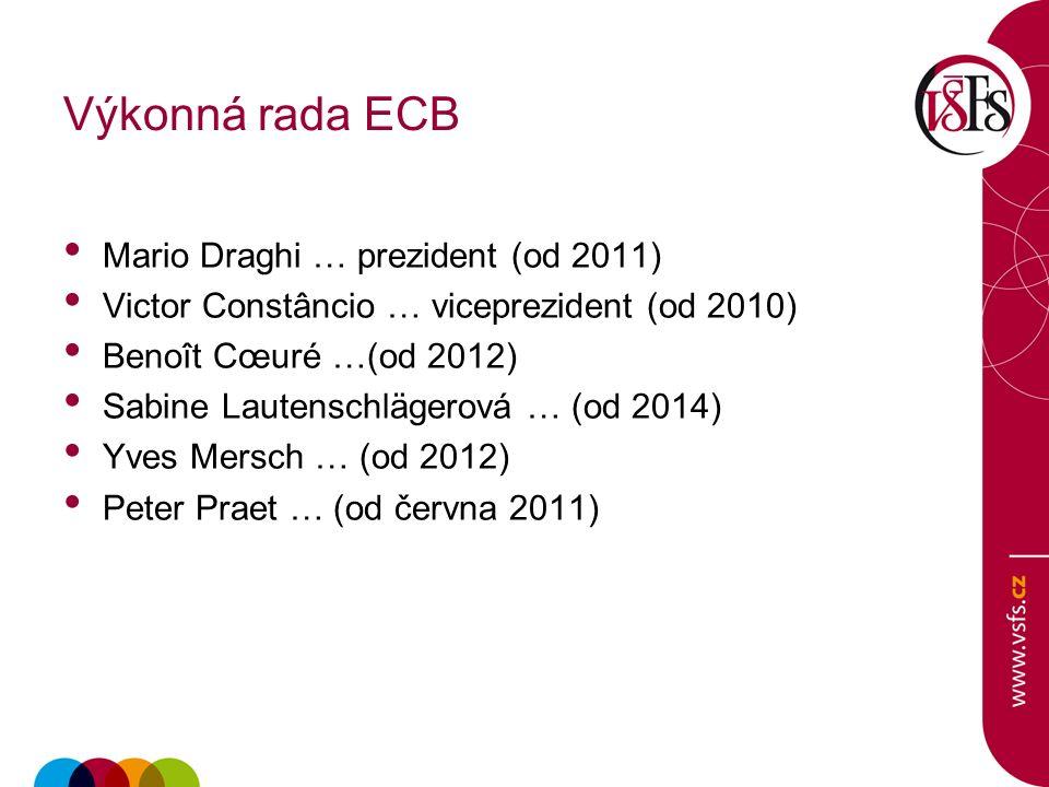 Výkonná rada ECB Mario Draghi … prezident (od 2011) Victor Constâncio … viceprezident (od 2010) Benoît Cœuré …(od 2012) Sabine Lautenschlägerová … (od 2014) Yves Mersch … (od 2012) Peter Praet … (od června 2011)