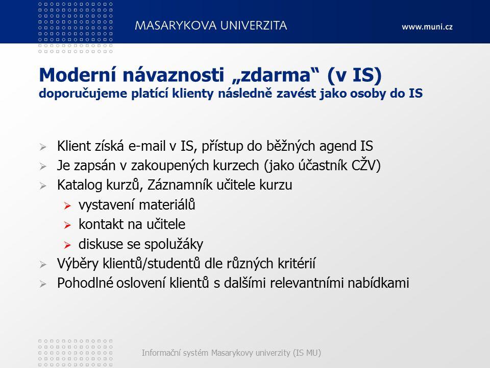 """Informační systém Masarykovy univerzity (IS MU) Moderní návaznosti """"zdarma"""" (v IS) doporučujeme platící klienty následně zavést jako osoby do IS  Kli"""