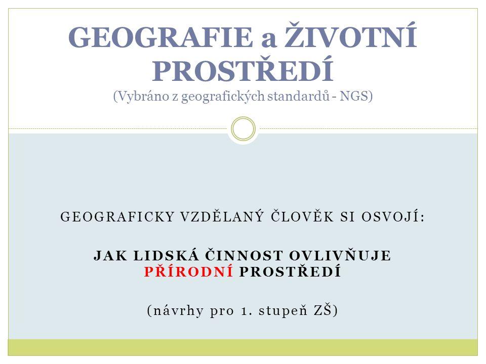 GEOGRAFICKY VZDĚLANÝ ČLOVĚK SI OSVOJÍ: JAK LIDSKÁ ČINNOST OVLIVŇUJE PŘÍRODNÍ PROSTŘEDÍ (návrhy pro 1. stupeň ZŠ) GEOGRAFIE a ŽIVOTNÍ PROSTŘEDÍ (Vybrán