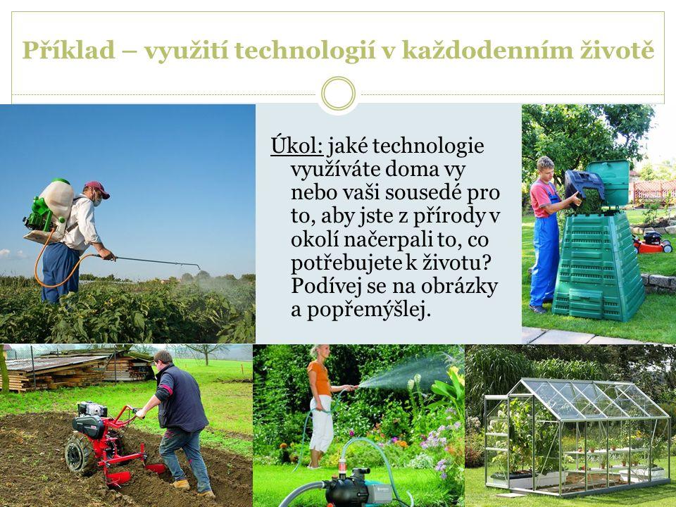 Příklad – využití technologií v každodenním životě Úkol: jaké technologie využíváte doma vy nebo vaši sousedé pro to, aby jste z přírody v okolí načer