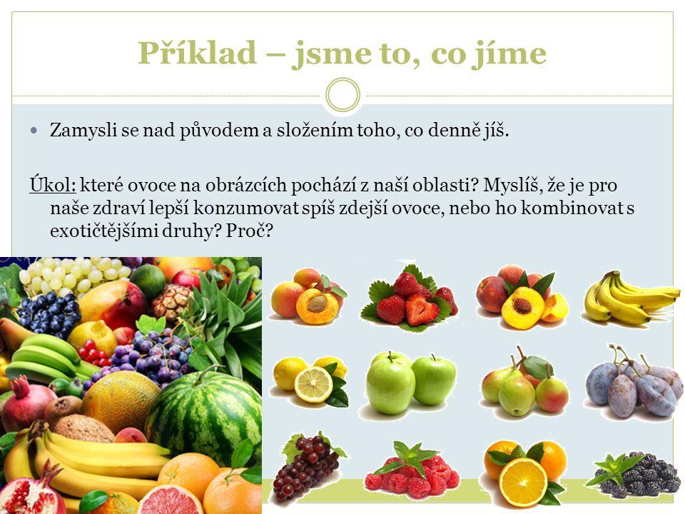 Příklad – jsme to, co jíme Zamysli se nad původem a složením toho, co denně jíš. Úkol: které ovoce na obrázcích pochází z naší oblasti? Myslíš, že je